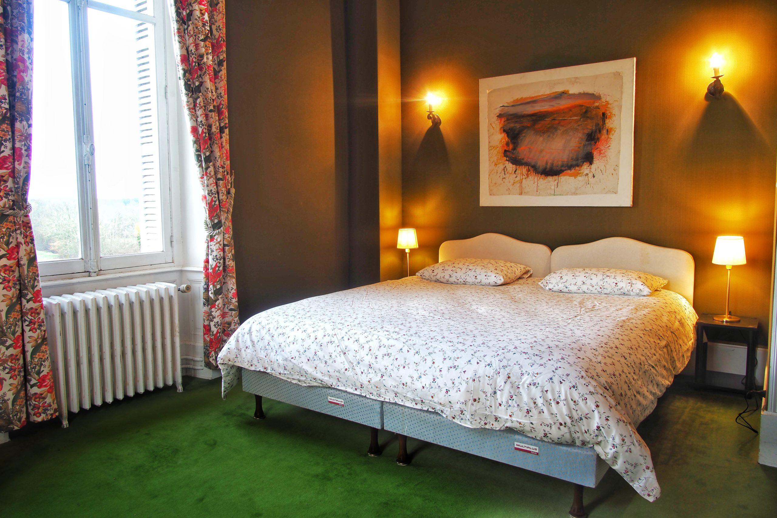 Chambre verte location manoir en Sologne